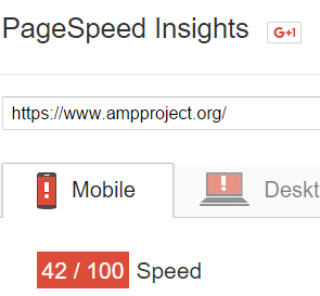 PageSpeed Insights analysis of www.ampproject.org