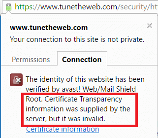 How Chrome displays valid certificate transparency replaced by Avast AV software