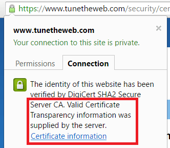 How Chrome displays valid certificate transparency