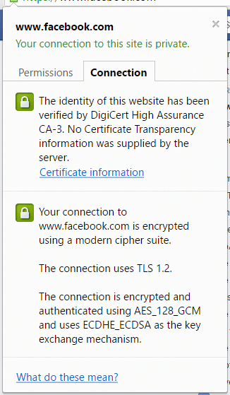 How Chrome displays no valid certificate transparency