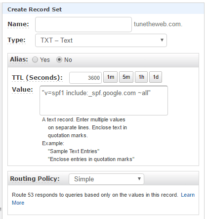 Google SPF DNS Record Addition in AWS Route 53
